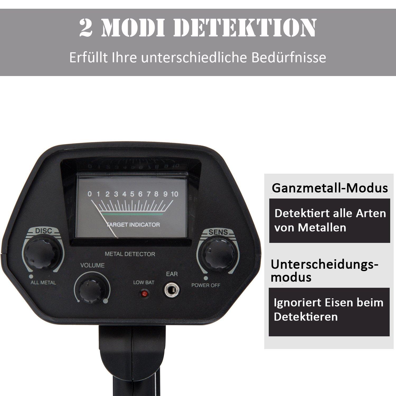 Outsunny - Detector de Metales Metal Dispositivo de Búsqueda Resistente al Agua 16,5 cm Bobina de Búsqueda Aluminio abs 77,5 - 105 x 13 x 24 cm: Amazon.es: ...