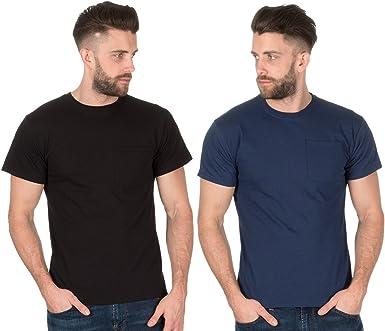 Fruit of the Loom - Camisetas de algodón para hombre (2 unidades) Negro y azul marino. L: Amazon.es: Ropa y accesorios