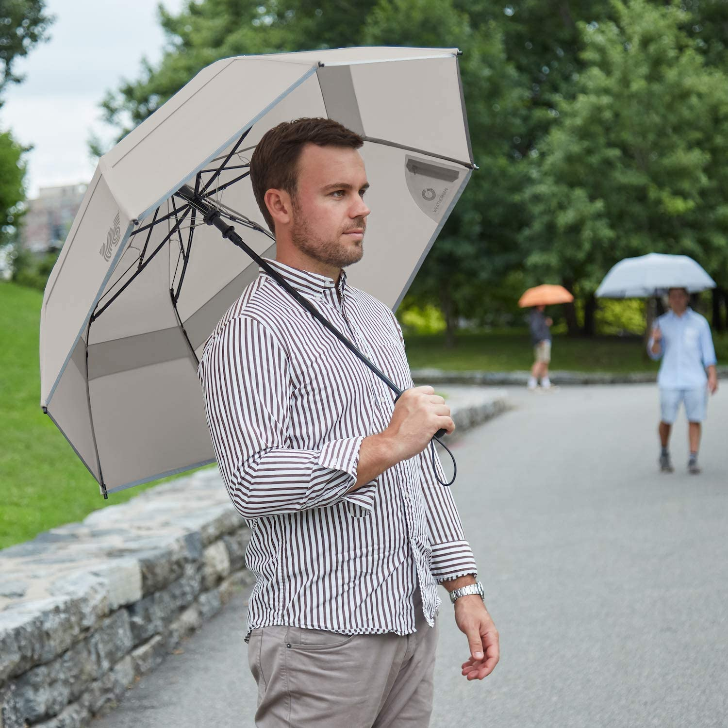 The Weatherman Umbrella Built to Withstand Winds Up to 55 MPH Available in 8 Colors Collapsible Umbrella Made with Teflon-Coated Fabric