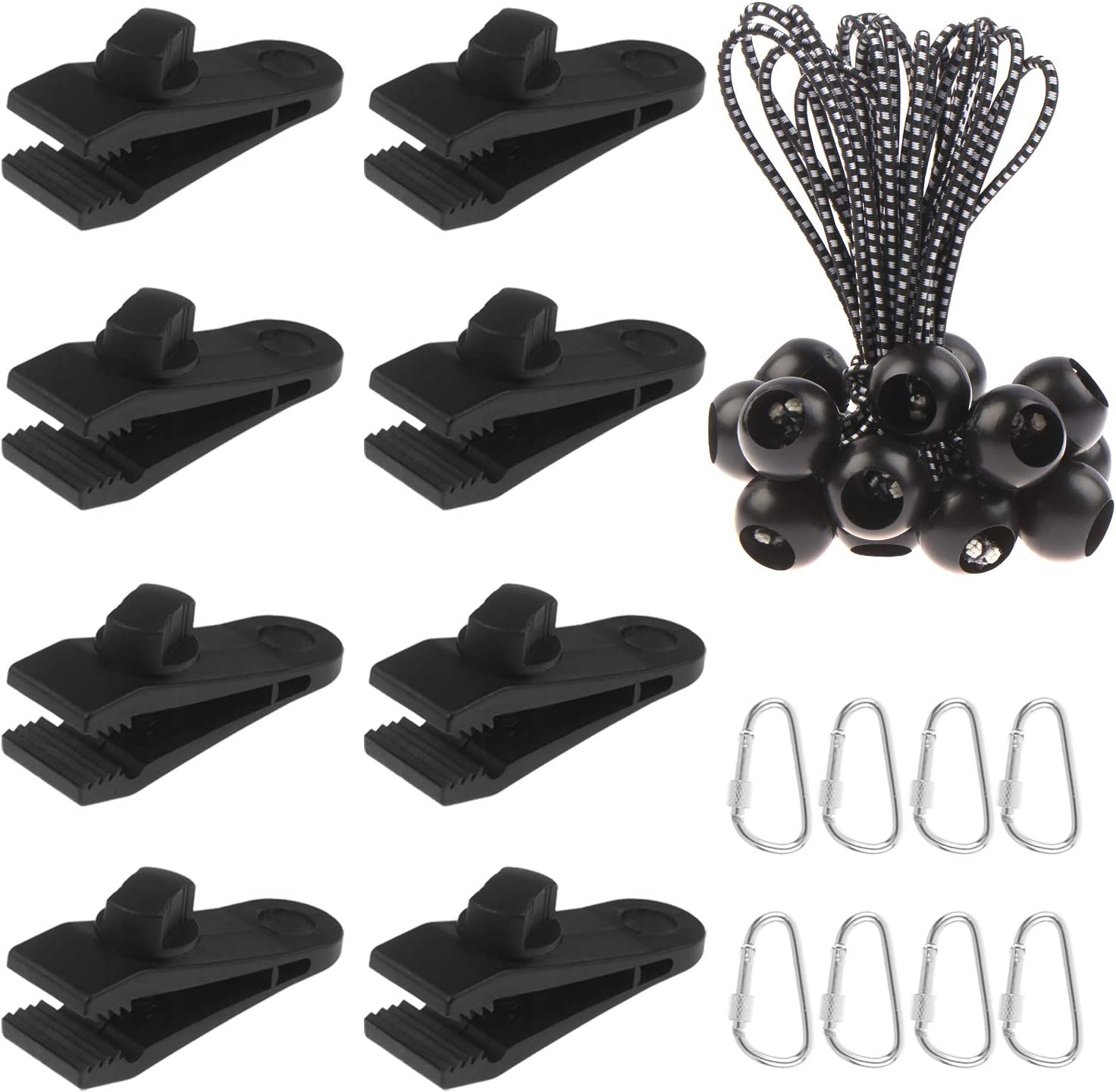 Ioffersuper 8pcs Lock Grip Clamps /& 8pcs Buckle /& 8 Pack Bungee Cord Bungee Balls Tools of Tent Instrument for Outdoors Camping Farming Garden Tarps
