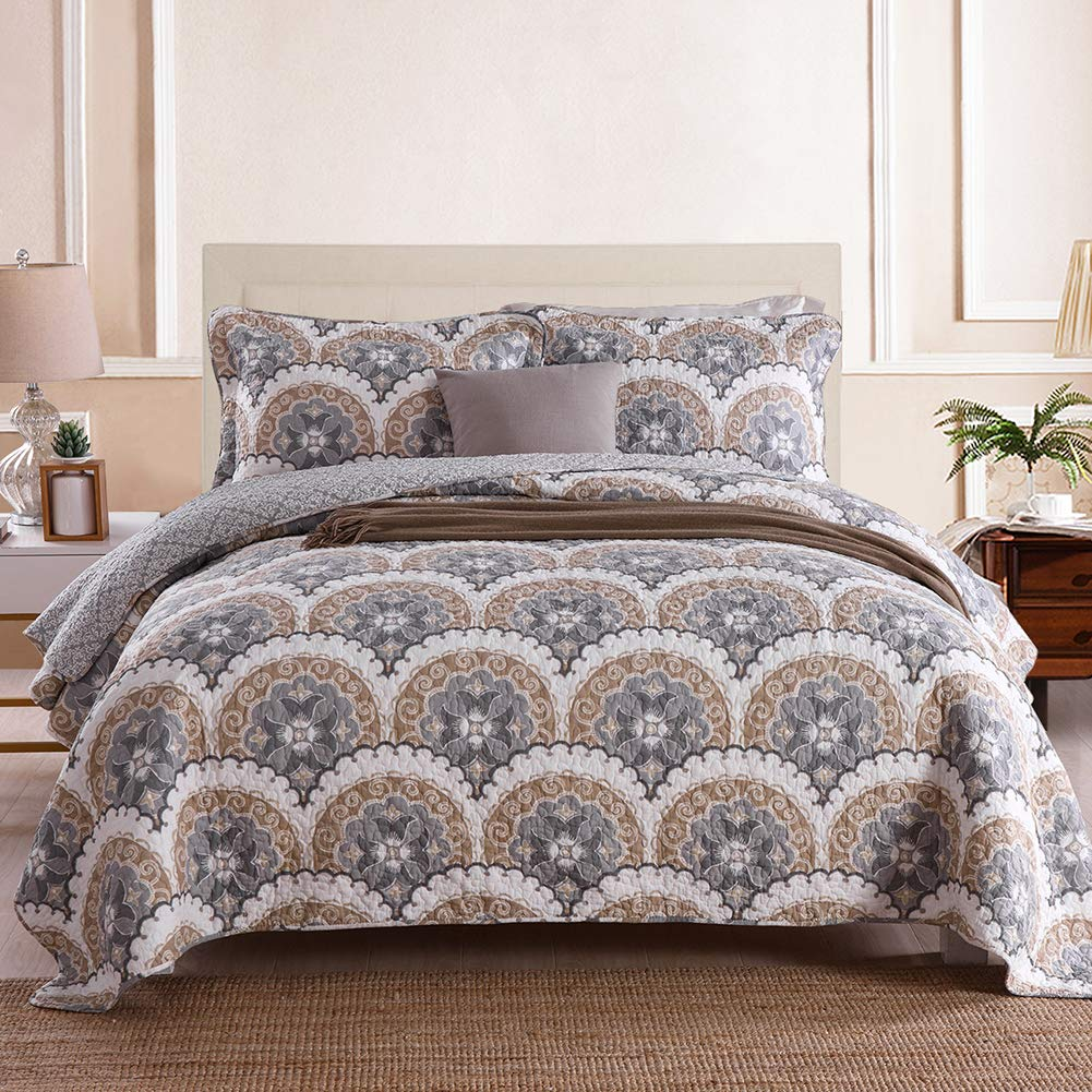 Travan 3-Piece Queen Quilt Set Oversized Microfiber Lightweight Bedspread Coverlet Set, Reversible Printed Quilted Set with Shams for All Season