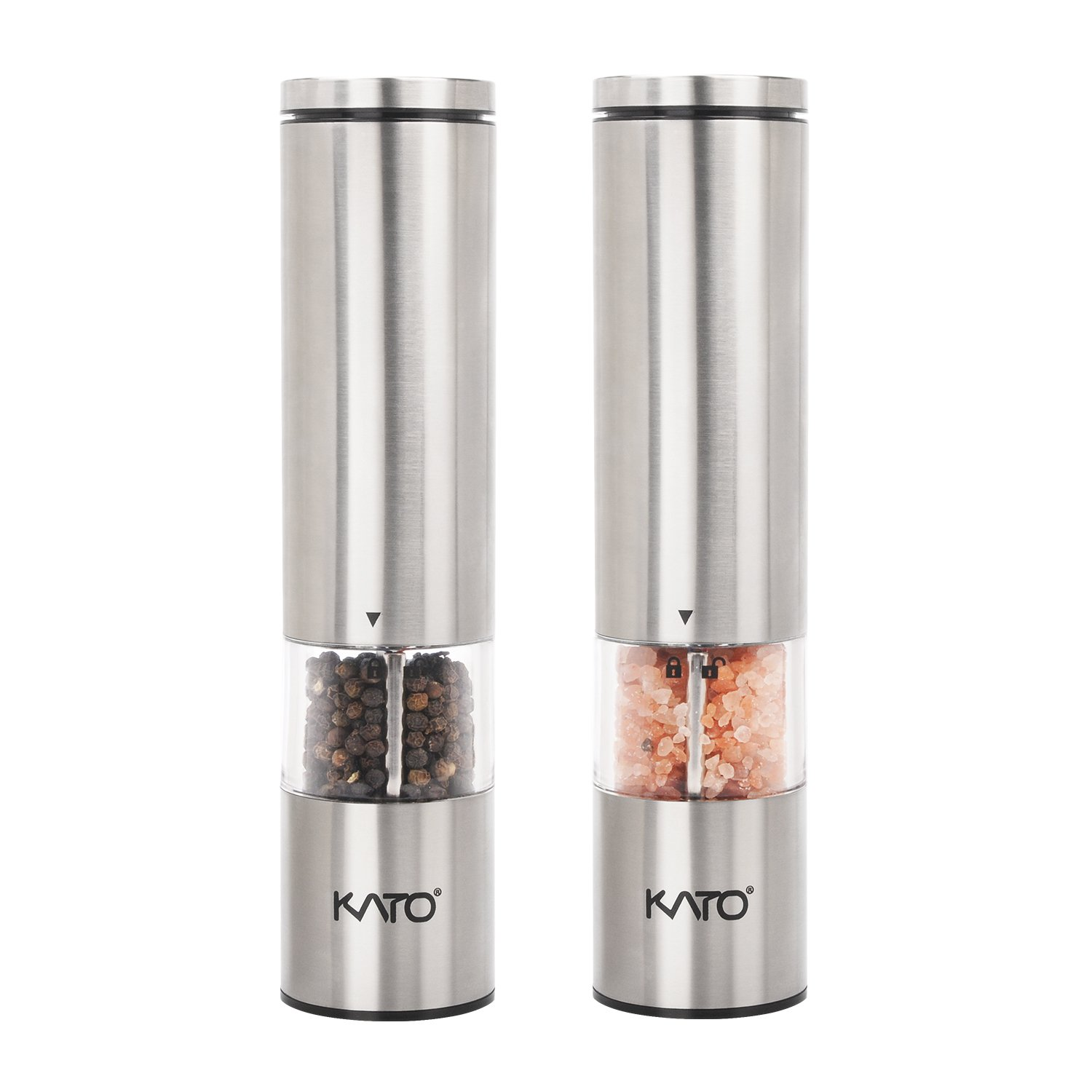 Kato Electric Salt and Pepper Grinder Set with LED Light, Battery Powered, Adjustable Ceramic Coarseness, Stainless Steel Pepper Mill, Pack of 2
