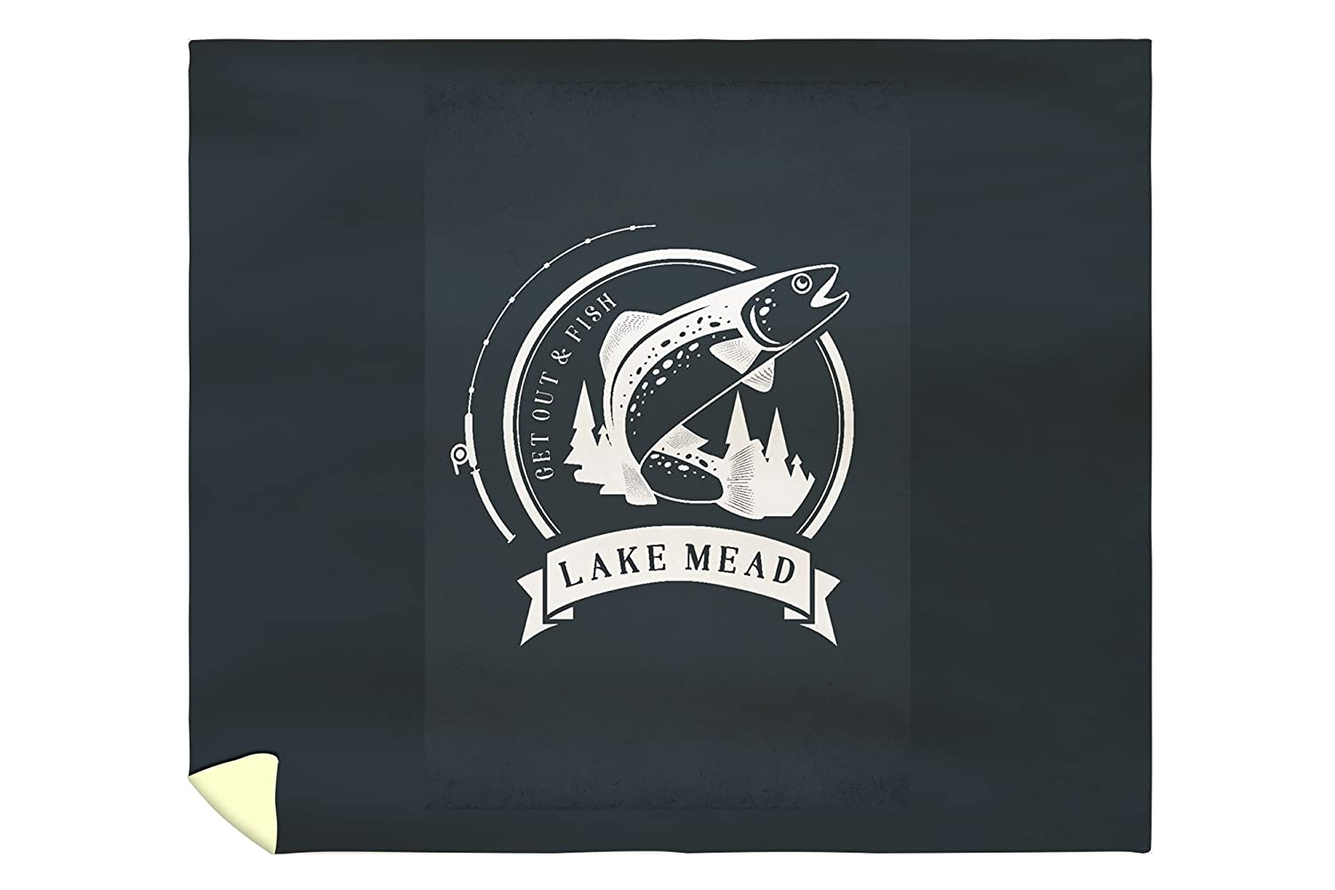 Lake Mead - Get Out and Fish - Trout and Pole - Badge (88x104 King Microfiber Duvet Cover)