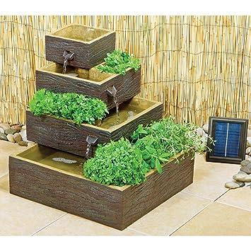 Fontaine Solaire Jardinire  Niveaux Bois Fonce AmazonFr Jardin