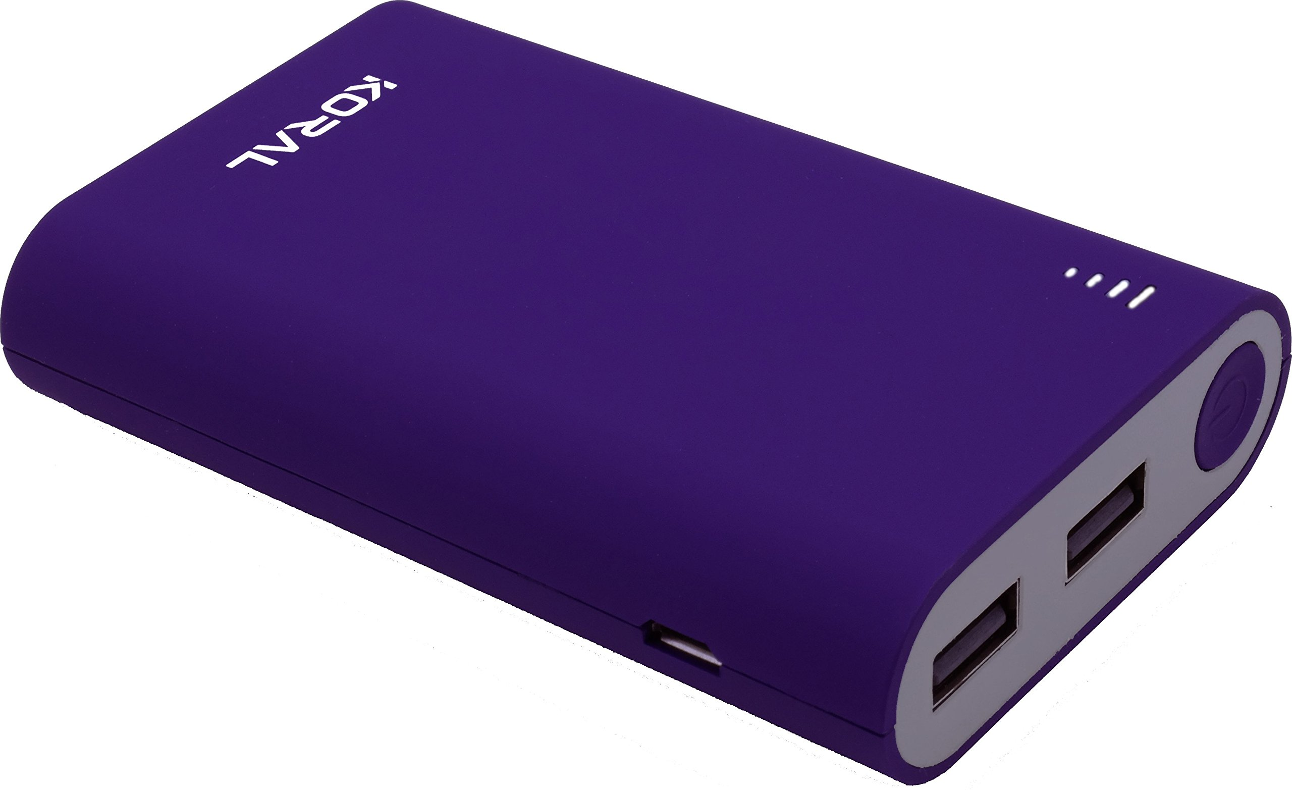 Koral 10050 Portable Charger - 10050mAh Power Bank (External Battery) for Iphone 6, 7, 8, X , Samsung Galaxy, & all Android - Purple
