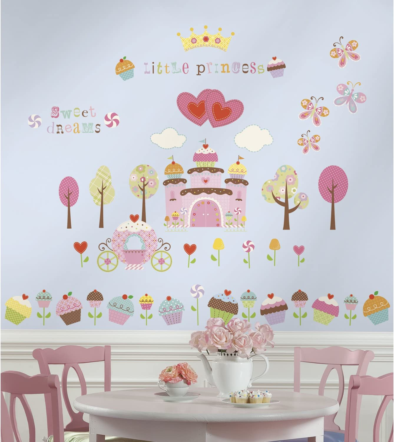 RoomMates Happi Cupcake Land Peel and Stick Wall Decals,Multicolor