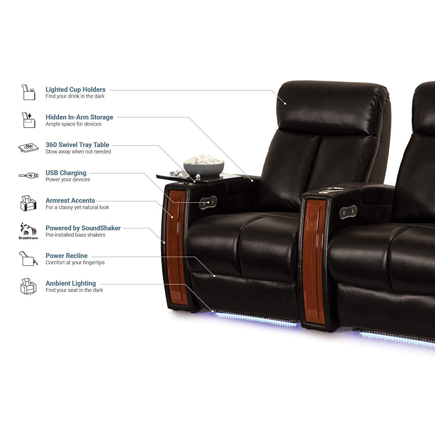 Seatcraft Seville Home Theater Seating Leather Gel Power Recline with Wood Accents, Hidden in-Arm Storage, Swivel Tray Tables, SoundShaker, and Lighted Cup Holders and Base, Row of 4, Black