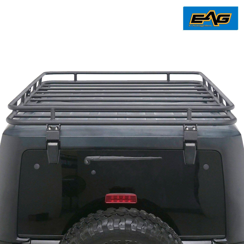 EAG Roof Rack Cargo Basket for 2007-2017 Jeep Wrangler JK (4.6' x 5.8' x 4.7'')