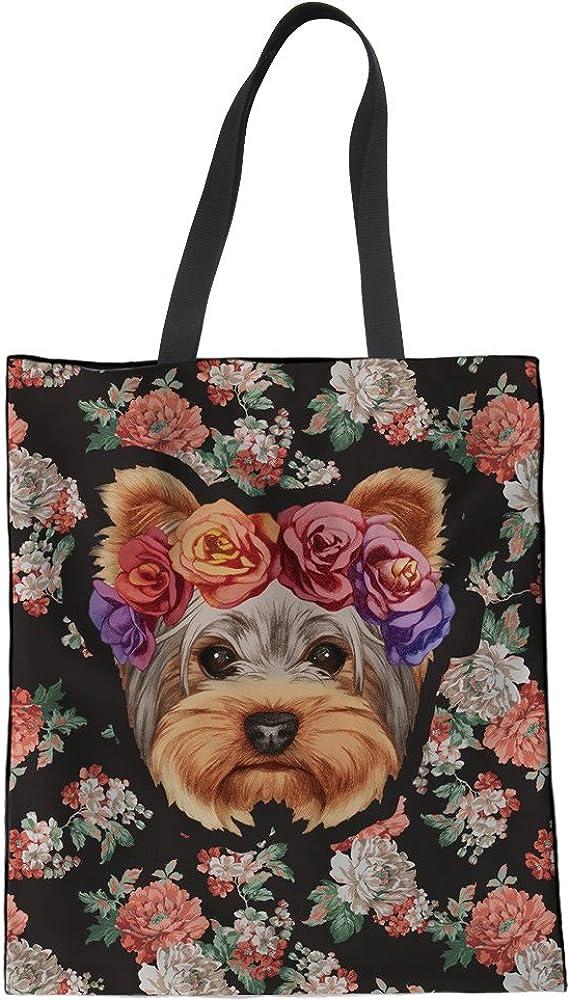 HUGS IDEA Bolso de lona con estampado de perro a la moda