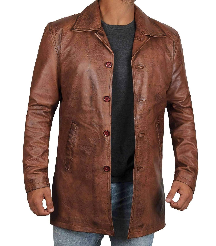 Amazon Com Decrum Distressed Brown Leather Jacket Mens Lambskin