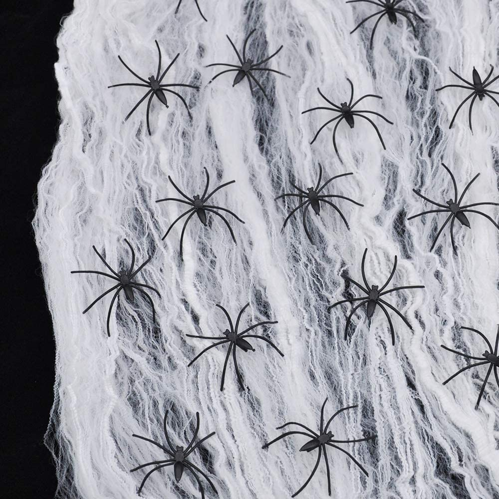 JOYIN 800 sqft Stretch Spider Web with 72 Fake Plastic Spiders for Indoor and Outdoor Halloween Decoration Party Supplies