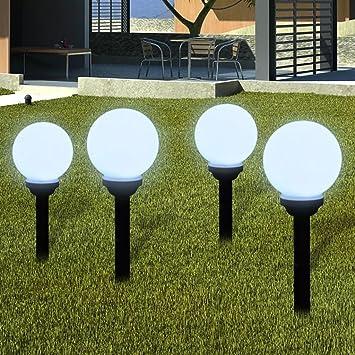 Furnituredeals lamparas de jardin Lampara solar de jardin en forma de bola con LED, 15 cm, 4 unidades lamparas de jardin exterior: Amazon.es: Bricolaje y herramientas