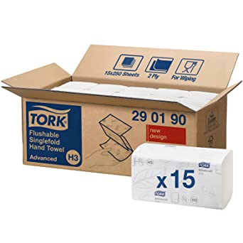 Tork 290190 - Juego de 15 paquetes x 250 toallas de papel plegadas en V,
