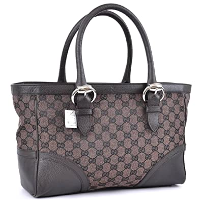 88562e74766 Amazon.com  Gucci Buckle Brown Canvas and Leather Monogram GG Logo Tote Bag   Shoes