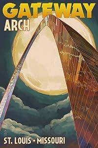St. Louis, Missouri, Gateway Arch and Moon (12x18 Art Print, Wall Decor Travel Poster)
