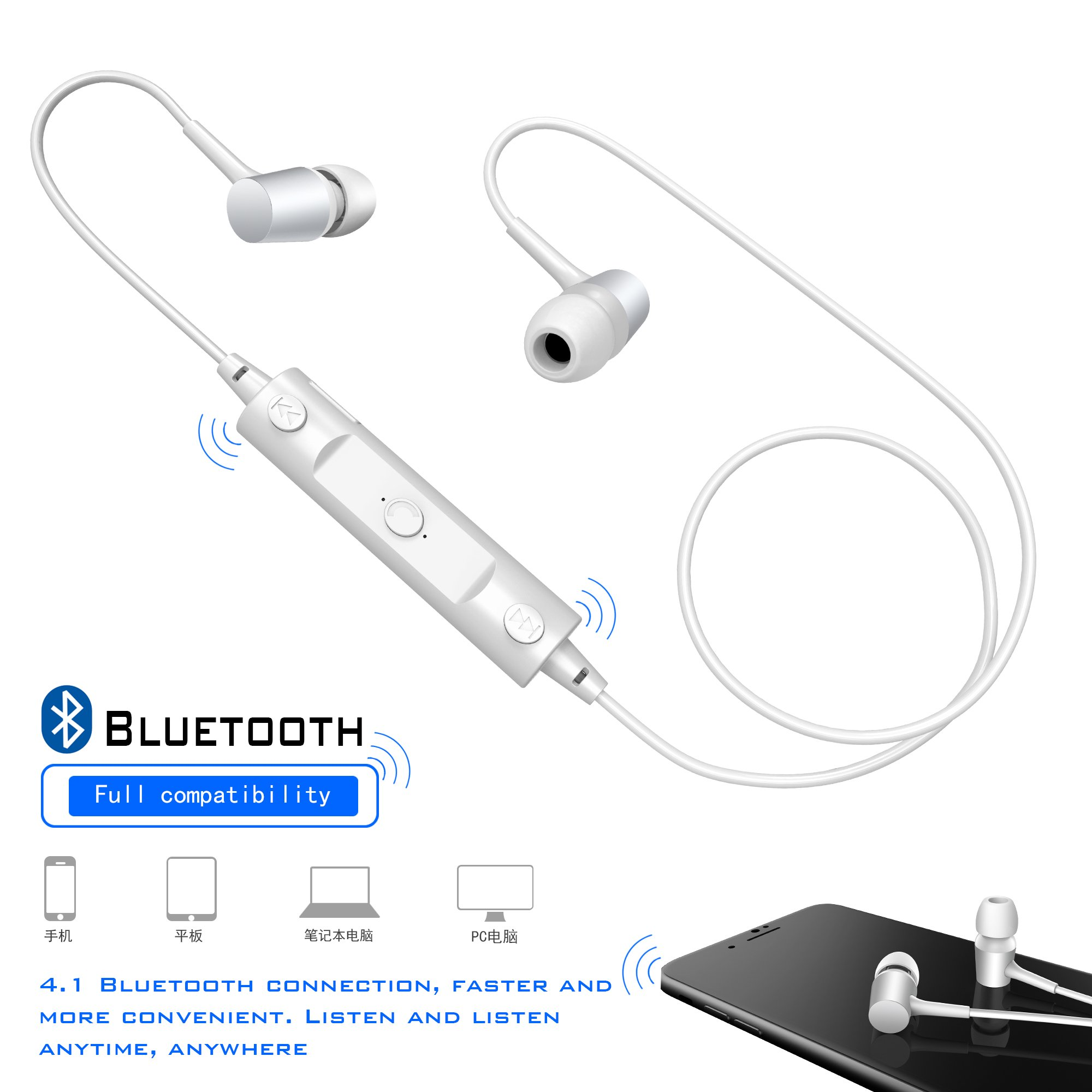Bluetooth Headphones Sweatproof Sports Earphones Wireless Headset Magnetic attraction Earbuds for Running Workout Gym Noise Cancelling White