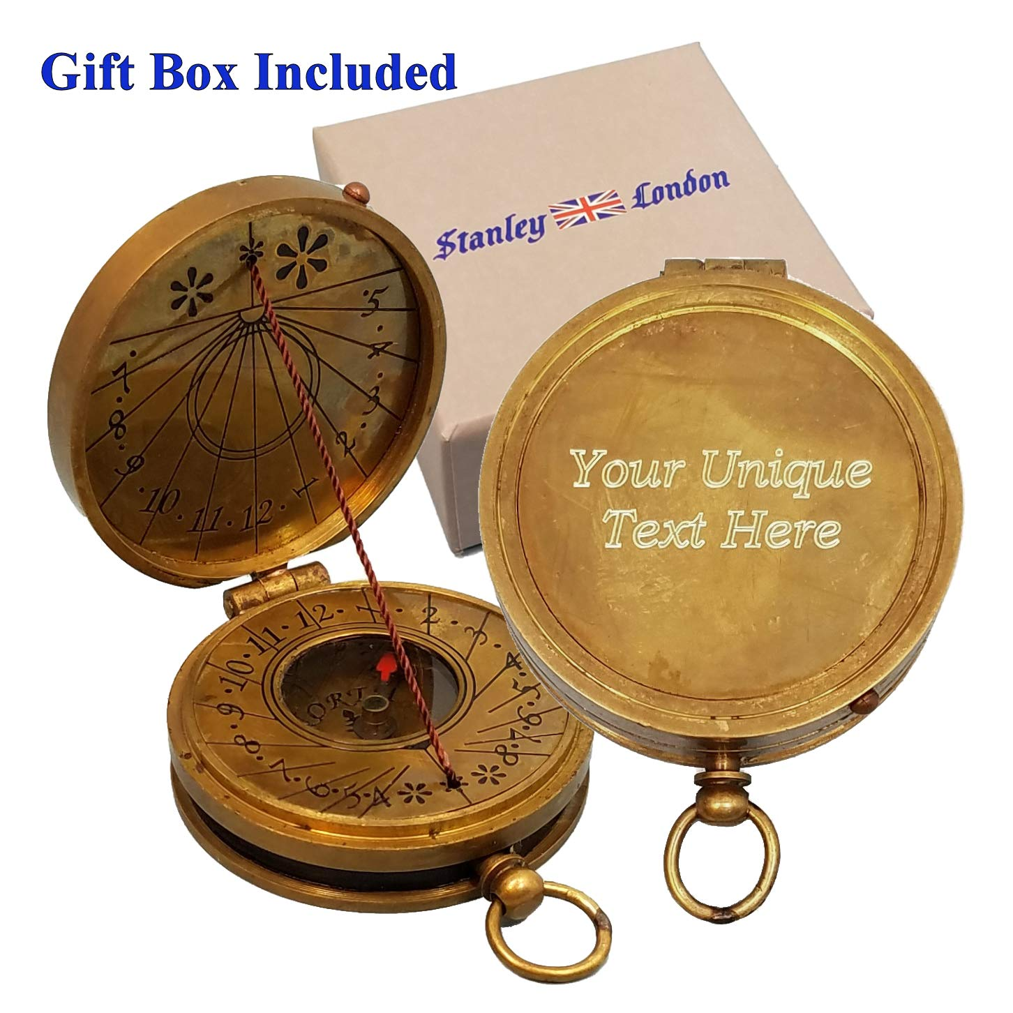 Stanley London Engravable Antique Brass Pocket Sundial Compass (Personalized) by Stanley London