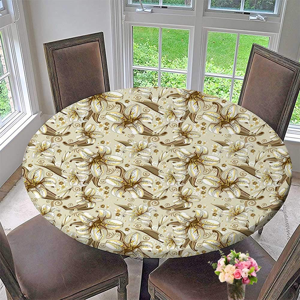 """Round Tablecloth Wild Distressed Lilies Over Floral Background Blooming Petals Bouquet Nature Theme White Yellow for Kitchen 47.5""""-50"""" Round (Elastic Edge)"""