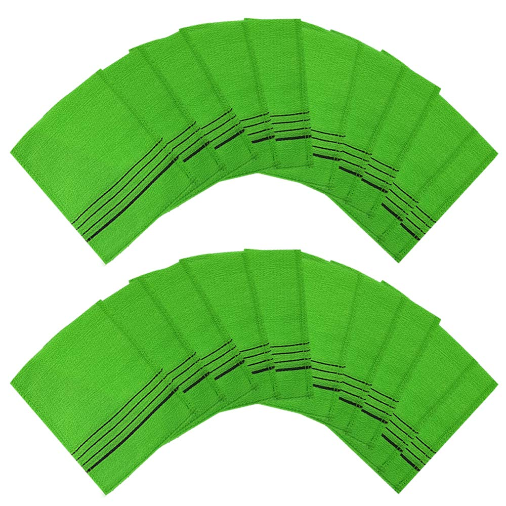Songwol towel Genuine Korean Exfoliating Scrub Bath Mitten 20pcs -14 cm x 15 cm (5 inch x 6.3 inch) Green