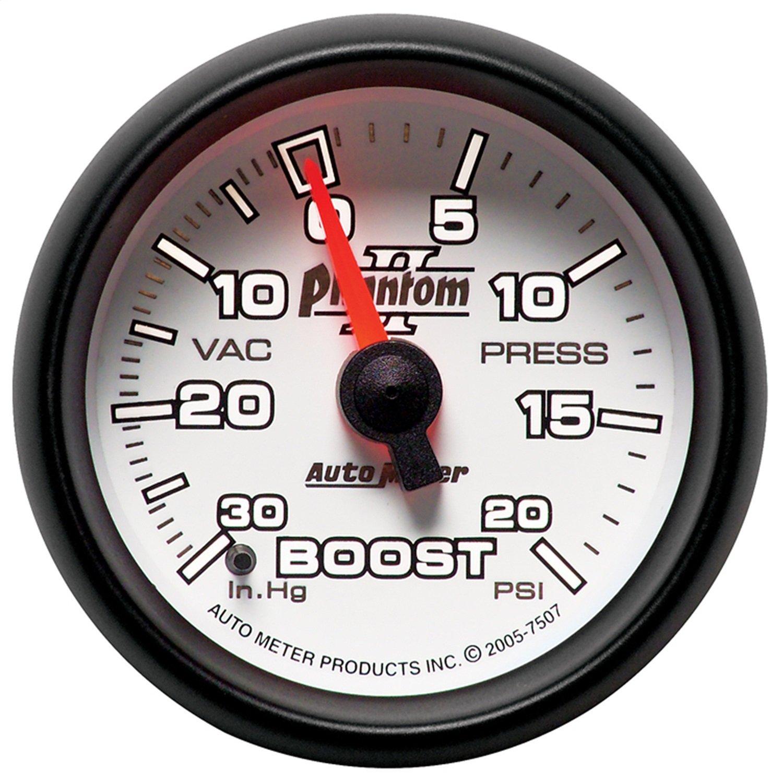 Auto Meter 7507 Phantom II 2-1/16'' 30 in. Hg/20 PSI Mechanical Vacuum/Boost Gauge