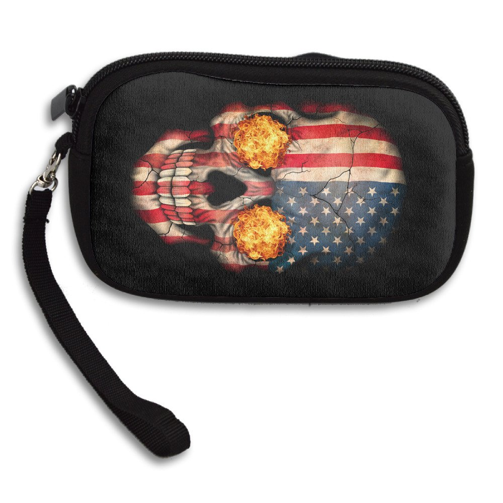 USA FLag Skull Zipper Change Purse Coin Wallet Card Holder With Key Ring Portable Purse Pouch Bag