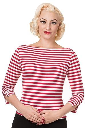 c3cba5cb944c24 Banned - Dancing Days 3 4-Arm Rockabilly Damen T-Shirt - Modern Love Rot- Weiß gestreift 4XL  Amazon.de  Bekleidung