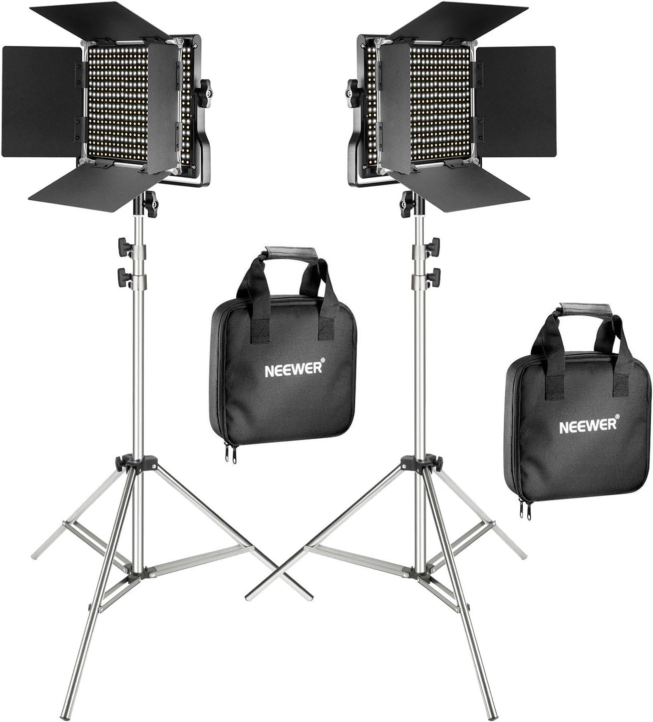 Neewer Kit de 2 Paneles LED Regulable Bicolor 660 Video Luz con Soporte de Luz 2m:Panel LED Regulable Bicolor con Soporte U,3200-5600K,CRI 96+ para Estudio Retrato,YouTube Video Fotografía