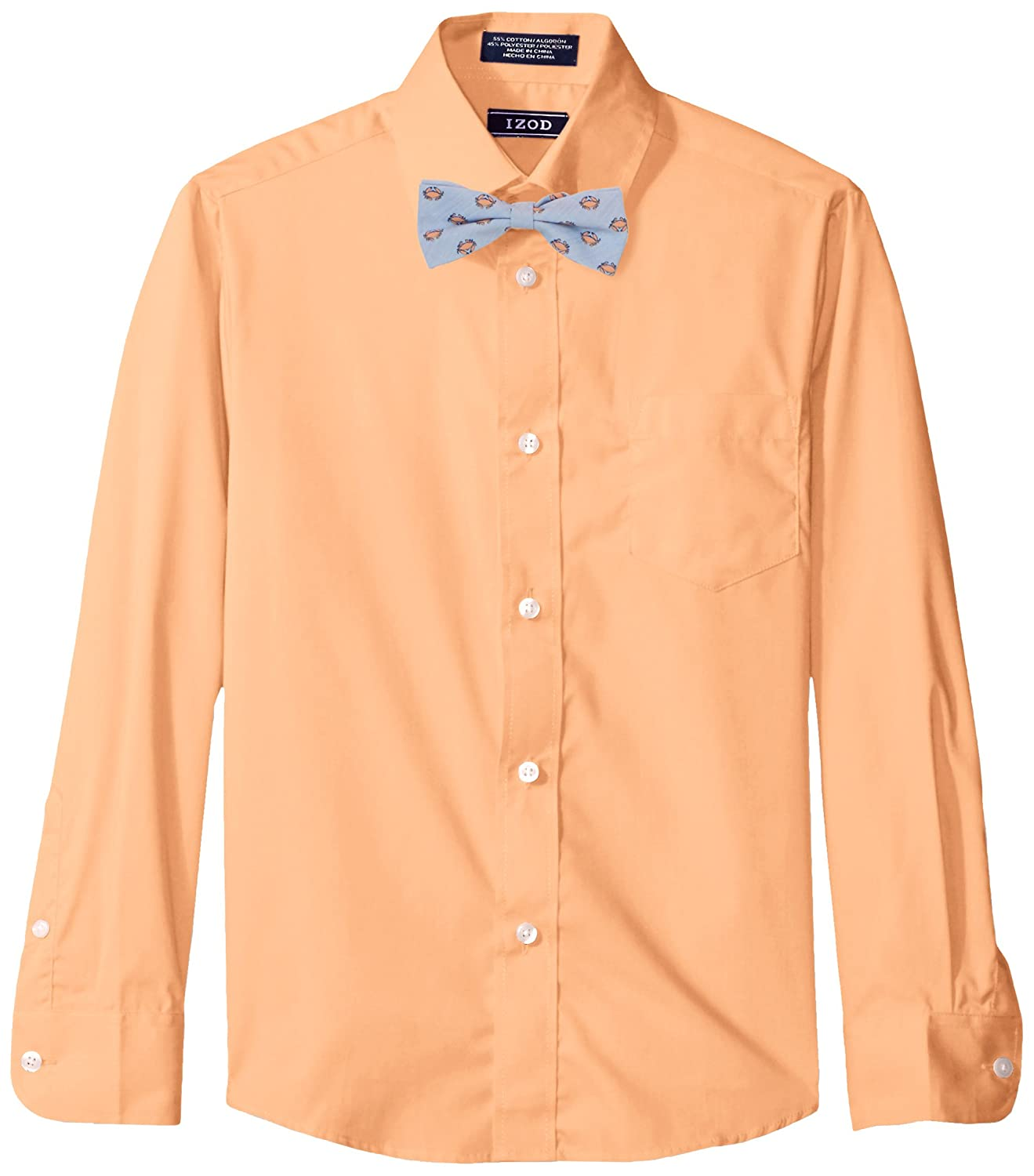 Izod Boys Long Sleeve Dress Shirt with Bow Tie