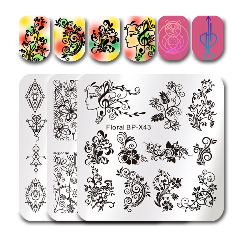 Born Pretty 3Pcs Nail Art Stamping Plate Unicorn Skull Flower Summer Manicure Image Plate DIY Nail Print Tool