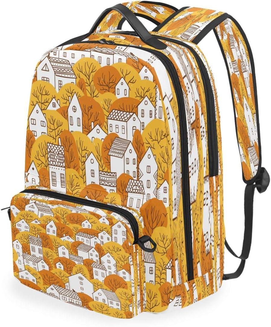 Laptop Backpack Computer Bags Fall City Landscape Large School Bag Lightweight Work Backpacks for Computer Travel Hiking