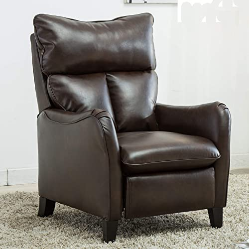 CANMOV Leather Recliner Chair,Single Modern Sofa, Home Theater Seating for Living Room, Brown02