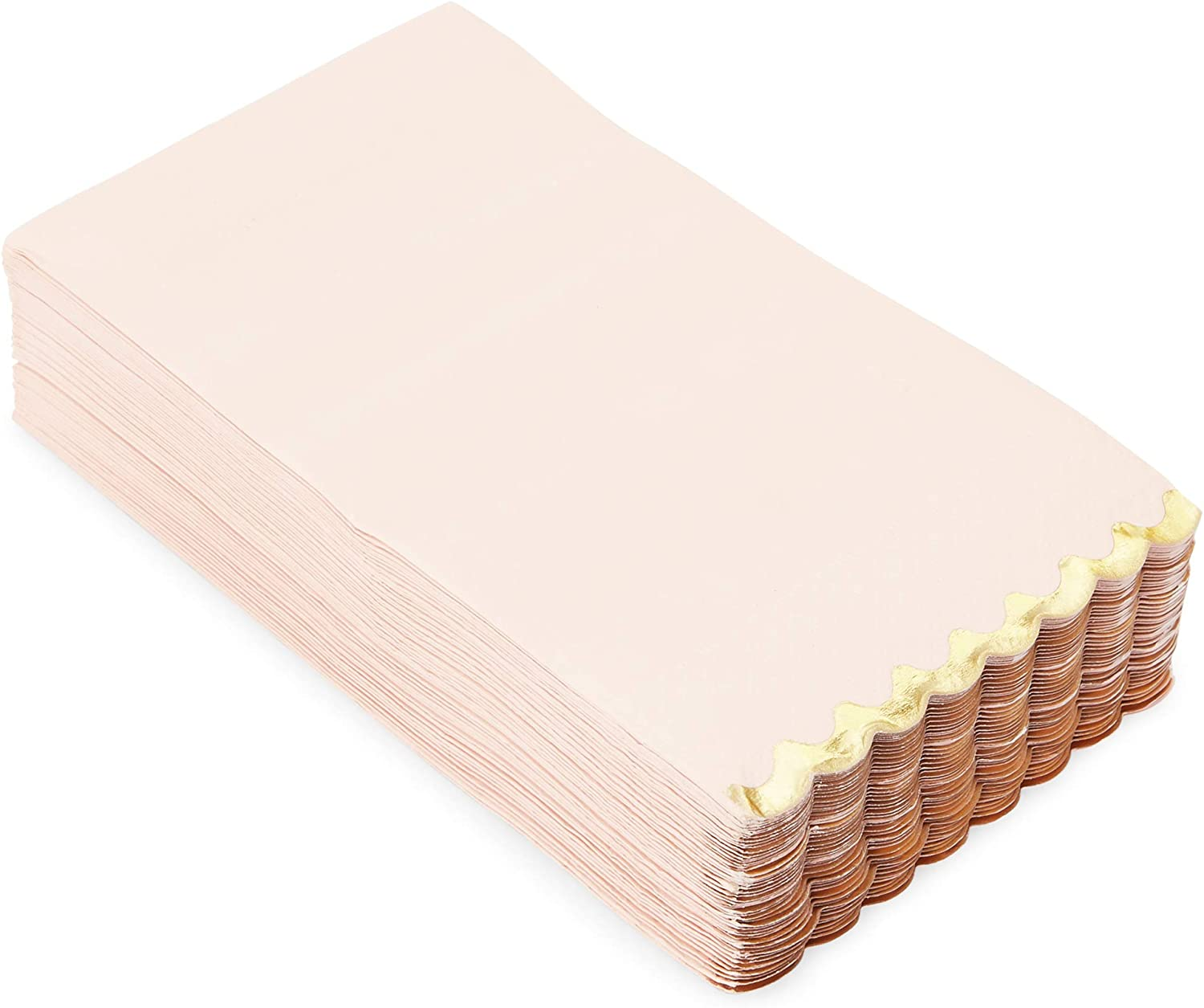 Bright Pink Scalloped Paper Napkins with Gold Foil Edges (4.4 x 7.8 In, 50 Pack)