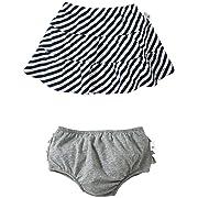 Burt's Bees Baby Baby Girls' Striped Skirt w/Diaper Cover (Baby) - Grey - 18 Months