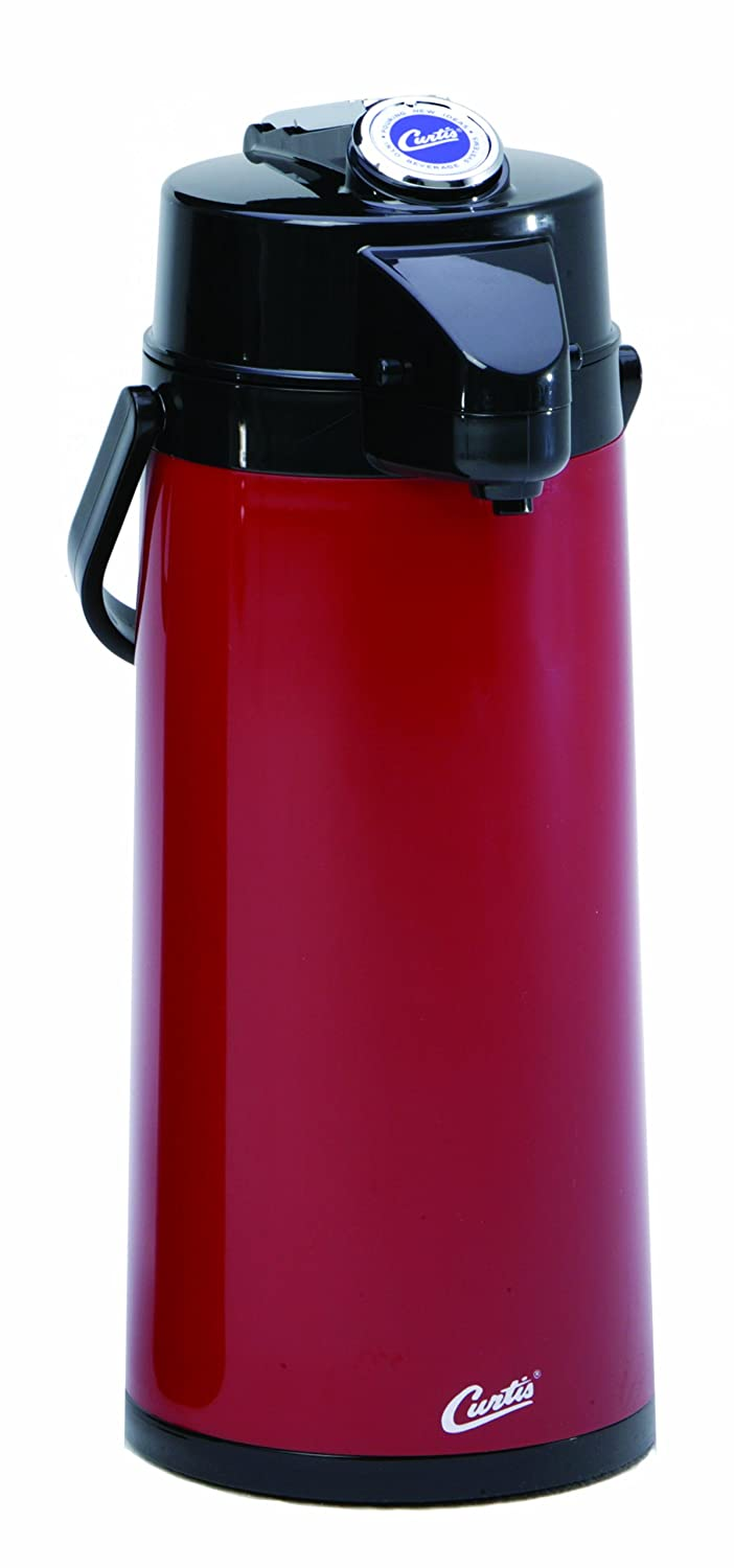 Wilbur Curtis Thermal Dispenser Air Pot, 2.2L Red Body Glass Liner Lever Pump - Commercial Airpot Pourpot Beverage Dispenser - TLXA2206G000 (Each)