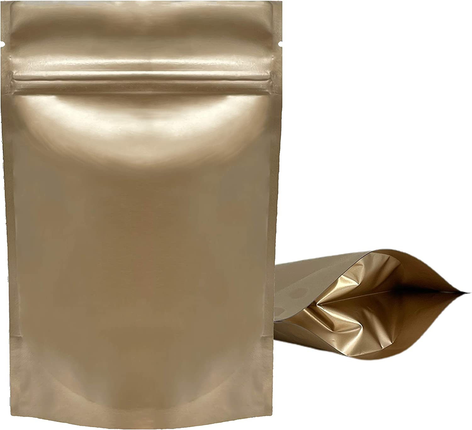 100PCS Resealable Smell Proof Stand Up and Flat Bags Aluminum Foil Pouch Bag 4 x 6 and 6 X 9 Inches Reclosable Mylar Ziplock Bag Food Storage Grip Seal Wrap (Gold Stand UP, 4X6 Inch)