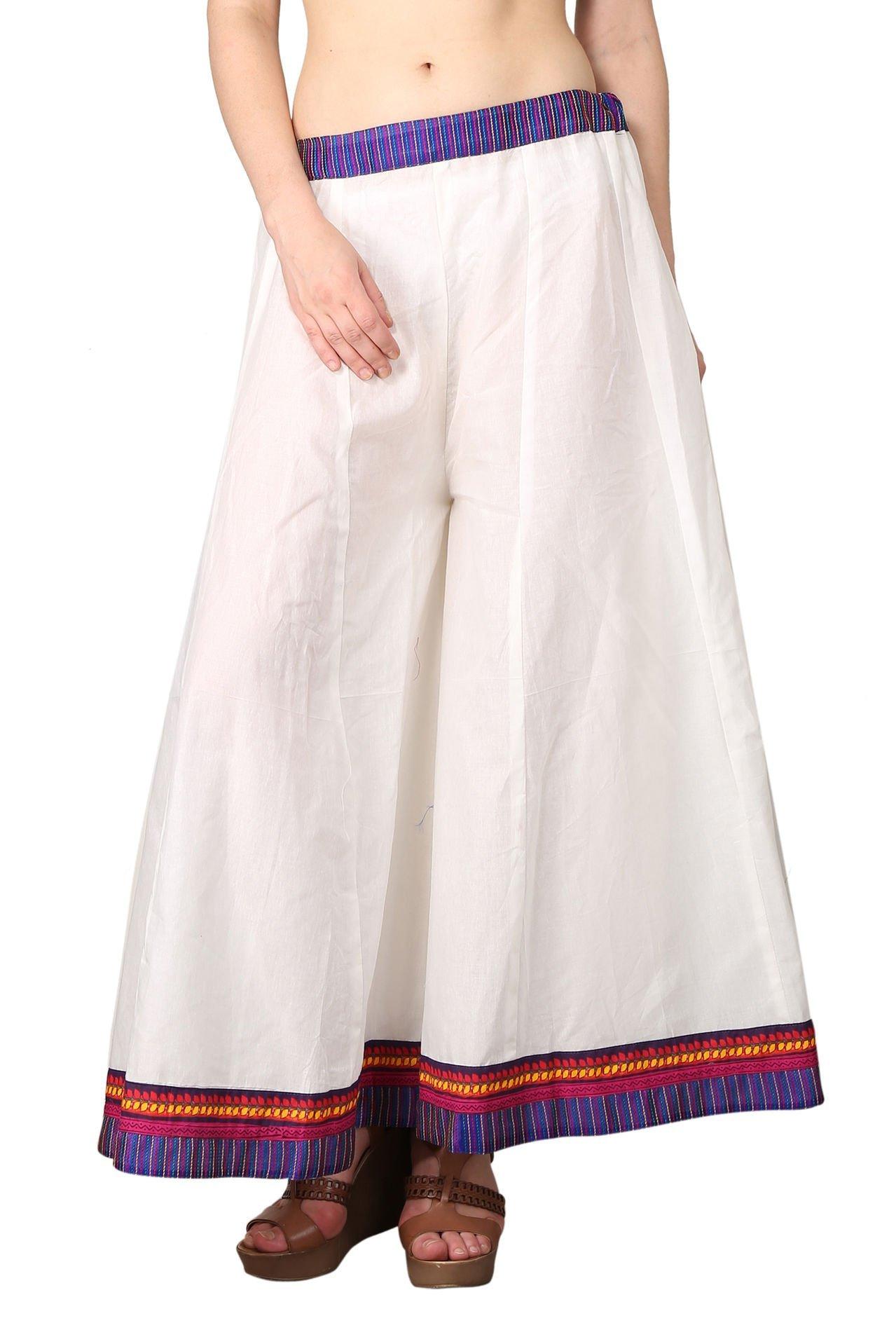 Shararat Women's Flared Palazzo Pants Free Size White