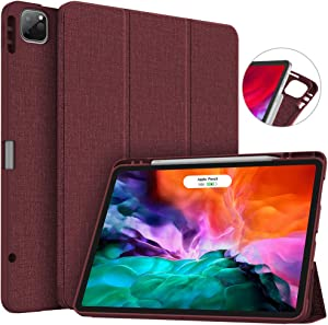 Soke New iPad Pro 12.9 Case 2020 & 2018 with Pencil Holder - [Full Body Protection + Apple Pencil Charging + Auto Wake/Sleep], Soft TPU Back Cover for 2020 iPad Pro 12.9(Wine)