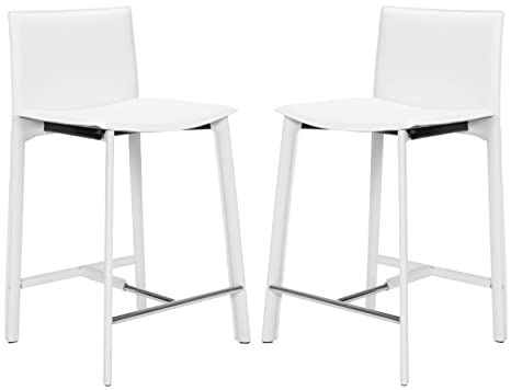 Marvelous Safavieh Home Collection Janet Mid Century White Leather 24 Inch Counter Stool Set Of 2 Lamtechconsult Wood Chair Design Ideas Lamtechconsultcom