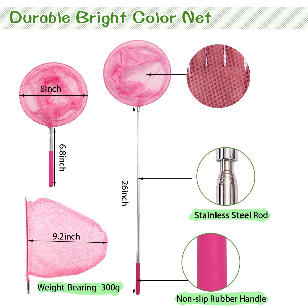 Cooliz Telescopic Butterfly Net Kit For Kids 6 Pack Bug Insect Diagram Catching Nets Extendable 34