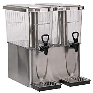 Service Ideas CBDT3SSDD Double Diamond Cold Beverage Dispenser, 6 Gallon, Brushed Stainless/Clear Tritan Plastic, Silver