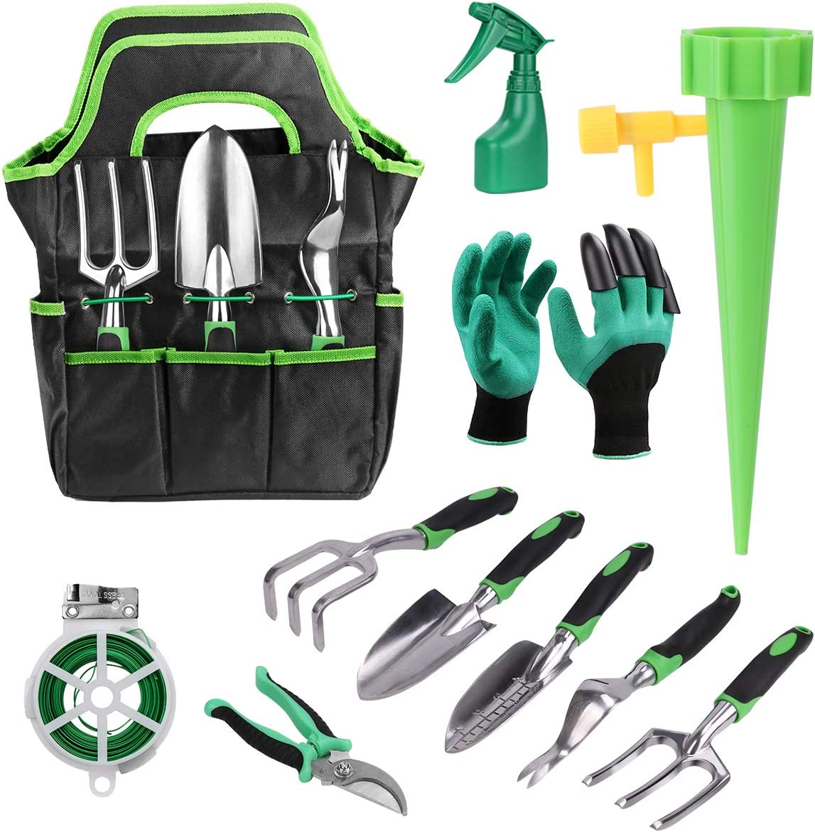 FAMI HELPER 16 PCS Garden Tool Sets - Gardening Kit with Self Watering System for Flower and Vegetable Plants Care, Gardening Tools Kits for Women Men