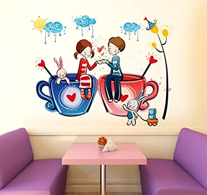 buy decals design romantic cartoon couple on cups wall sticker