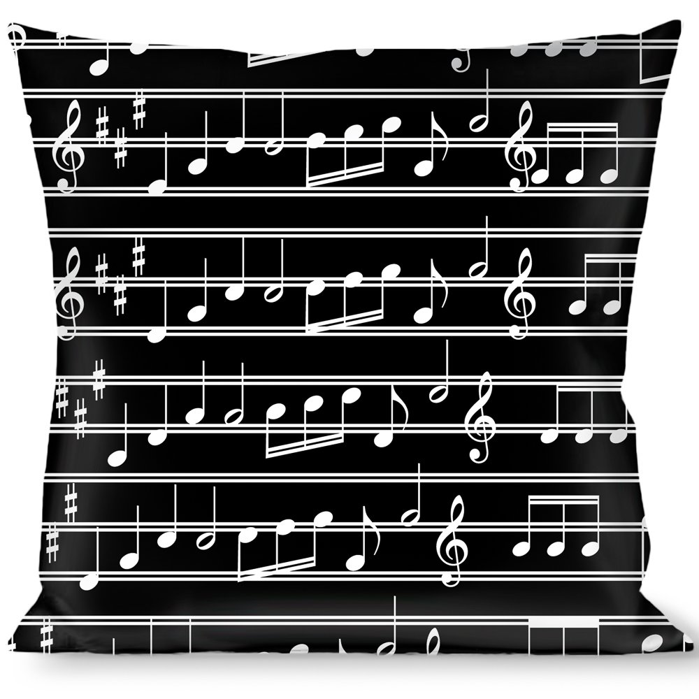 Buckle Down Throw Pillow Notes Black/White, Music