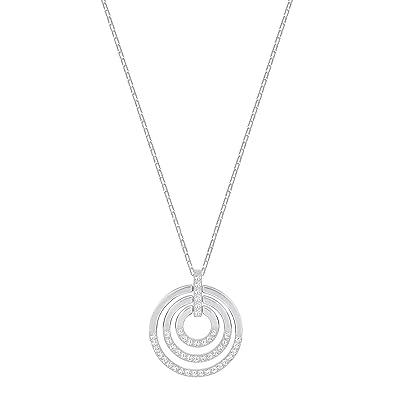 4f4b3292d Swarovski Crystal Medium White Rhodium-Plated Circle Pendant Necklace