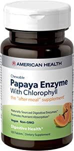 American Health Papaya Enzyme with Chlorophyll Chewable Tablets - Promotes Nutrient Absorption, Helps Digestion and Freshens Breath - Gluten-Free, Vegetarian - 100 Count, 33 Total Servings