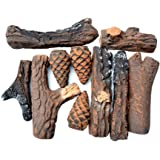 Stanbroil Ceramic Wood Set of Fireplace Logs for All Types of Ventless, Gel, Ethanol, Electric,Gas Inserts, Propane, Indoor or Outdoor Fireplaces & Fire Pits - Small 10 Piece Set