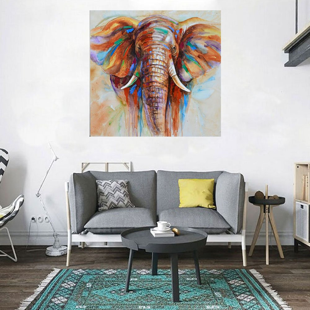 Amazon.com: Decdeal Wall Decoration Paintings Hand Painted Elephant ...