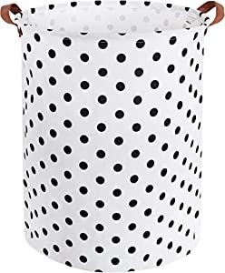 HIYAGON Large Laundry Hamper,Waterproof Laundry Baskets,Collapsible Canvas Basket for Kids Room,Toy Organizer,Home Decor,Nursery Hamper (dot)