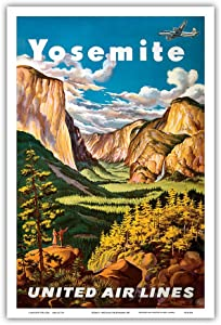 Yosemite - United Air Lines - Yosemite Falls and Yosemite National Park - Vintage Airline Travel Poster by Joseph Fehér c.1945 - Master Art Print - 12in x 18in