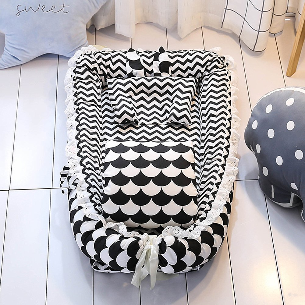 Ukeler Reversible Baby Nest/Bassinet for Bed -Black and White Striped Baby Lounger - Breathable & Hypoallergenic Co-Sleeping Baby Bed, Suitable for 0-24 Month by Ukeler